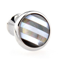 Abalone Shell and Mother of Pearl Stripe Inlay Cufflinks (V-CF-G52810-S)