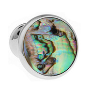 Knob Style Abalone Shell Cufflinks (V-CF-S512)