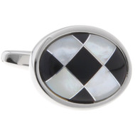 Black Onyx and Mother of Pearl Inlay Cufflinks (V-CF-G60696)