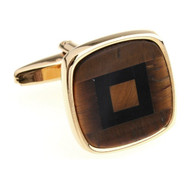 Black Onyx and Tiger Eye in Gold Cufflinks (V-CF-G6785TE-G)