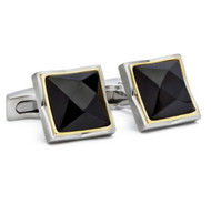 Hickey Freeman Black Onyx Stainless Steel Cufflinks (HFCU-HF11)