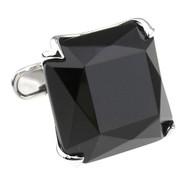 Large Faceted Cut Black Onyx in Silver Cufflinks (V-CF-G56844B-S)