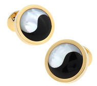 Yin-Yang Mother-of-Pearl & Onyx Gold Cufflinks (V-CF-G627G)