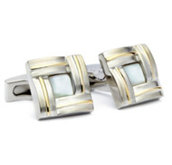 Hickey Freeman Mother of Pearl Stainless Steel Cufflinks (HFCU-HF3)