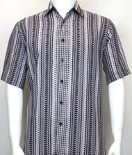 Bassiri Purple Spiral Design Short Sleeve Camp Shirt