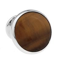 Knob Style Tiger's Eye Cufflinks (V-CF-G407BR)