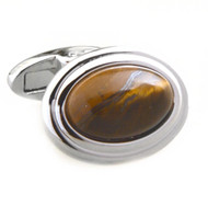 Large Cabochon Tiger's Eye Cufflinks (V-CF-G53307BR)