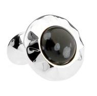 Black Snowflake Obsidian Stone Cufflinks (V-CF-G51000)
