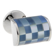 Blue and Pearl Cat's Eye Insert Square Cufflinks (V-CF-66370MP)