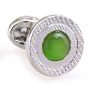 Green Cat's Eye Stone Cufflinks (V-CF-C53340-GR)