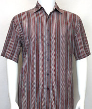 Bassiri Burgundy Zig-Zag Design Short Sleeve Camp Shirt
