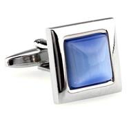 Light Blue Cat's Eye Stone Square Cufflinks (V-CF-G62172LB)