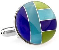 Multi-Blue & Green Cat's Eye Cufflinks (V-CF-G66802)