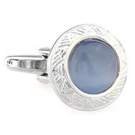 Round Light Blue Cat's Eye Stone Cufflinks (V-CF-G66622BL-S)