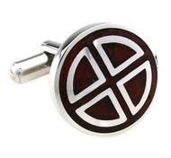 Carved Rosewood Insert Stainless Steel Cufflinks (V-CF-W230045SS)