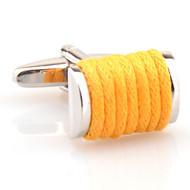 Yellow Silk Rope Cufflinks (V-CF-S6495Y)