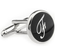 Personalized Initial Cufflinks Letter F (V-CF-1684BS-F)