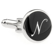 Personalized Initial Cufflinks Letter N (V-CF-1684BS-N)