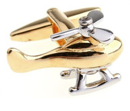 Gold & Silver Helicopter Moving Blades Cufflinks (V-CF-M475-G)
