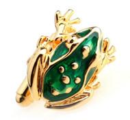 Enameled Green Frog Cufflinks (V-CF-E487GR-G)