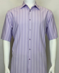 Bassiri Lavender Multi-Stripe Short Sleeve Camp Shirt