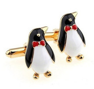 Enameled Penguin with Bow Tie Cufflinks (V-CF-E445-G)