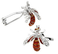 Enameled Wasps with Swarovski® Crystals Cufflinks (V-CF-E404)