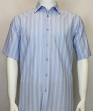 Bassiri Blue Multi-Stripe Short Sleeve Camp Shirt