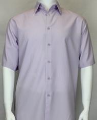Bassiri Solid Purple Tone with Vertical Stripe Short Sleeve Camp Shirt