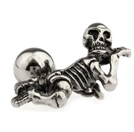 Creepy Laying Down Skeleton with Ball & Chain Cufflinks (V-CF-50949-S)