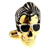 X-Large Black and Gold Cool Cat Skull Cufflinks (V-CF-58438G)