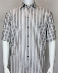 Bassiri Grey & Brown Multi Vertical Stripe Short Sleeve Camp Shirt