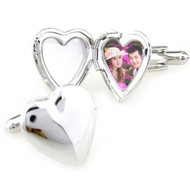 Photo Locket Silver Heart Cufflinks (V-CF-M57361-S)