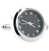 Silver with Black Face Working Watch Cufflinks (V-CF-W552860)
