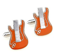 Orange and White Electric Guitar Enamel Cufflinks (V-CF-E419O)