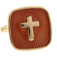 Embossed Enameled Gold Cross Cufflinks (V-CF-M468-G)