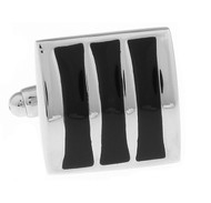 Black Enamel Raised Design Cufflinks (V-CF-E70236B)