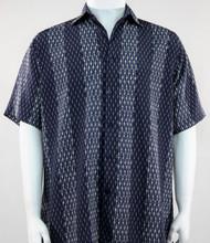 Bassiri Navy and Grey Abstract Line & Stripe Design Short Sleeve Camp Shirt -