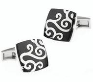 Black with Silver Scroll Design Cufflinks (V-CF-V00-02BS)