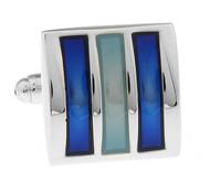 Blue Enamel Raised Design Cufflinks (V-CF-E70236BL)