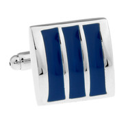 Blue Enamel Raised Design Cufflinks (V-CF-E70236BL2)
