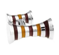 Double Knob Bronze & Tan Stripe Cufflinks (V-CF-E62379BR)