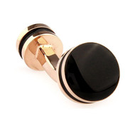 Double Sided Black Coated Enamel Rose Gold Cufflinks (V-CF-65625B-RG)