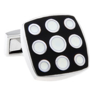 Enameled Black and White Dotted Cufflinks (V-CF-E64007B)
