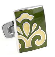 Large Dark Green & Yellow Fleurette Design Enamel Cufflinks (V-CF-E81336DGR)