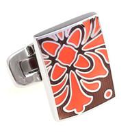 Large Orange Floral Bell Design Enamel Cufflinks (V-CF-E81156O)