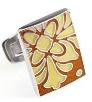 Large Yellow Floral Bell Design Enamel Cufflinks (V-CF-E81156G)