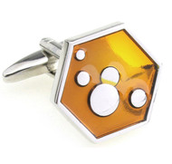 Gold Enamel Hexagon Design Cufflinks (V-CF-E210029O)