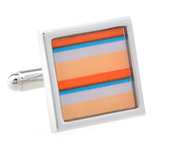Peach and Blue Mod Stripe Design Cufflinks (V-CF-52212)