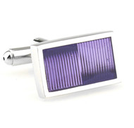 Purple Enamel Rectangle Design Cufflinks (V-CF-E70252PR)